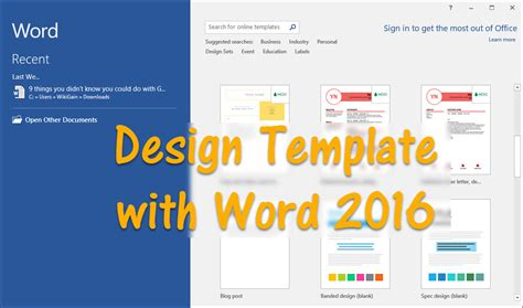 How To Design Template With Word 2016 Wikigain Microsoft Word Doc Templates