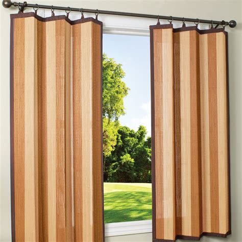 outdoor bamboo curtains shop tan and espresso bamboo outdoor curtain 40 x 63