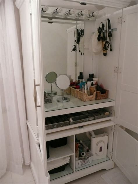makeup armoire convert an armoire to make up station homelement home