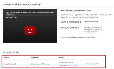 dmca policy the bible reloaded podcast did a review of anti film audacity ray comfort filed a false