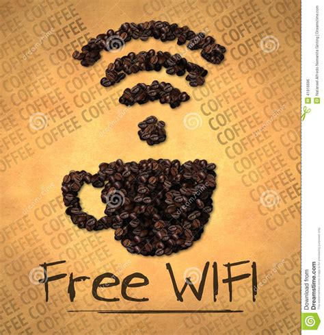 Free WiFi Cup Icon Coffee Bean On Old Paper Stock Illustration   Image: 41916696