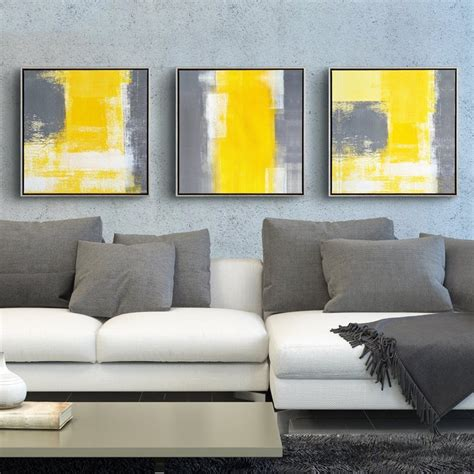 Sofa Paintings by Yellow And Grey Modern Minimalist Abstract Painting