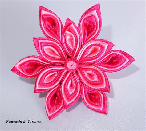 fiore per capelli fiore kanzashi per capelli colore fucsia e rosa donna