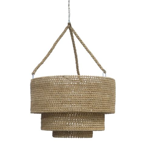 Rope and Rattan Woven Tiered Pendant Mecox Gardens