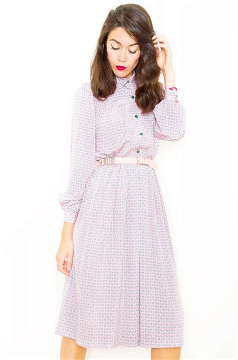 Hq 9203 Pink Pleated Dress Size L 70s Dresses Bichovintage Vintage And