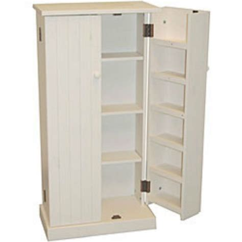 kitchen pantry cabinet  standing white wood utility