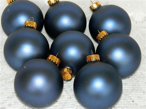 set of 8 glass christmas tree ball ornaments rich navy