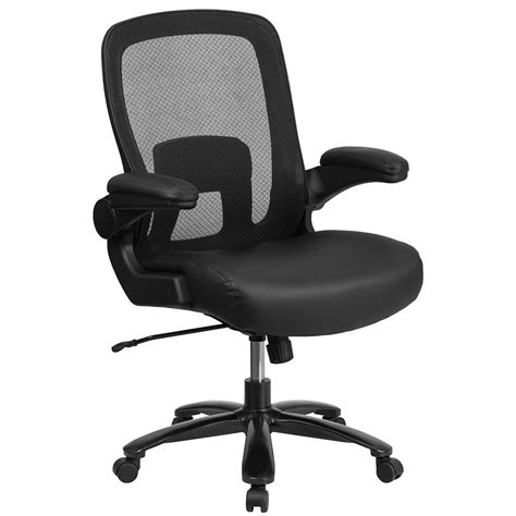 500 lb capacity executive leather office chair with gas lift hercules series 500 lb capacity big black mesh