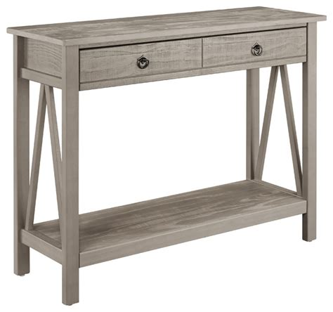 Gray Console Table Titian Console Table Rustic Gray Contemporary Console Tables By Linon Home Decor Products