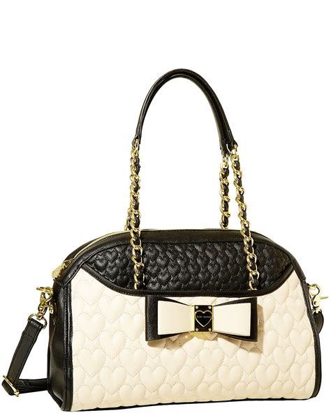 Betsey Johnson Handbag Quilted Satchel by Betsey Johnson Black Be Honey Buns Quilted