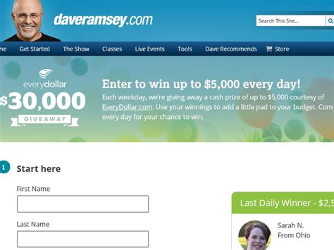 Dave Ramsey Sweepstakes - the dave ramsey everydollar 30 000 giveaway sweepstakes