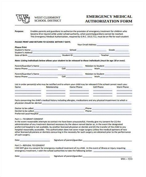 Emergency Medical Form Template Medical Form Templates Medication Authorization Form Template