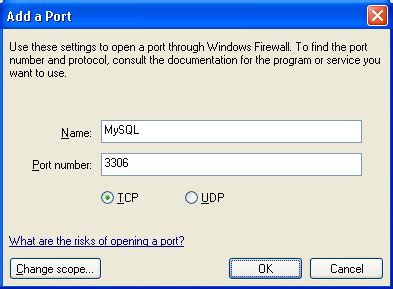 configure xp mysql windows xp firewall settings