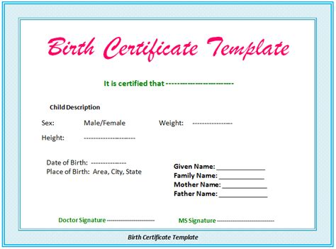 5 Birth Certificate Templates To Print Free Birth Certificates Birth Certificate Template