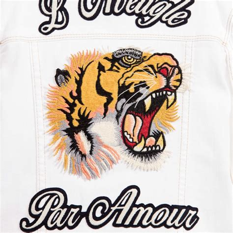 Inside Home Design Hd by Gucci White Denim Jacket With Tiger Embroidery