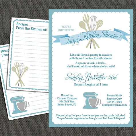 bridal shower recipe invitations bridal kitchen shower invitation and by michelepurnerdesigns