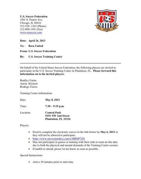 Release Letter From Soccer Club Showcase Invitation Futureclim Info
