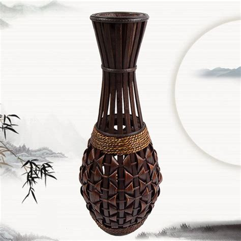 Floor Vase With Flowers Fashion Floor Vase Bamboo Braid Straw Rattan Vase Handmade