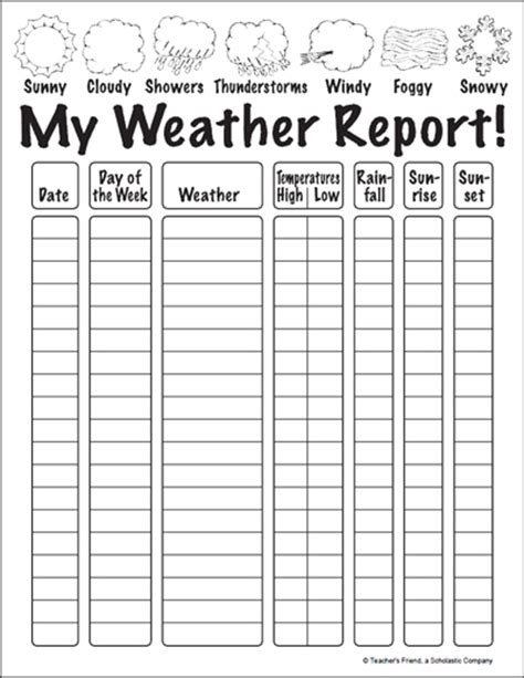 printable weather templates my weather report parents scholastic com