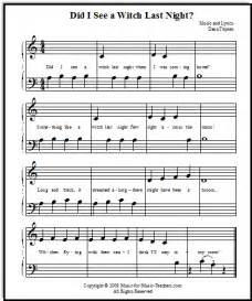 Halloween songs for beginner piano students with lettered notes