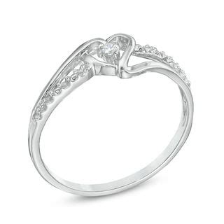 accent promise ring in 10k white gold