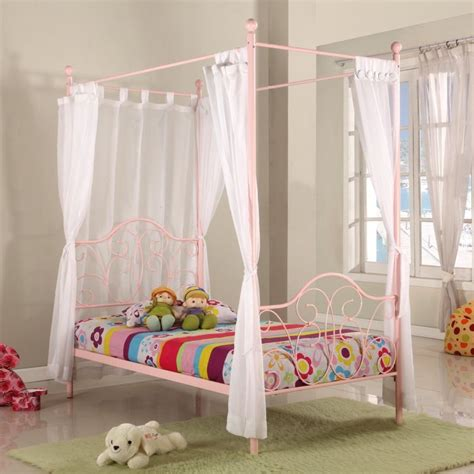 Single Four Poster Bed Frame Fantasia Kid S Single Four Poster Bed Frame In Pink Buy Single Beds