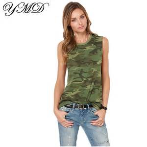 camouflage sleeveless t shirt female fashion woman clothes