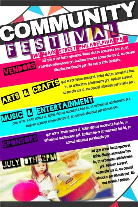 community event flyer template community festival template postermywall