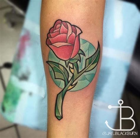new school girly tattoo new school disney s beauty and the beast rose by jay