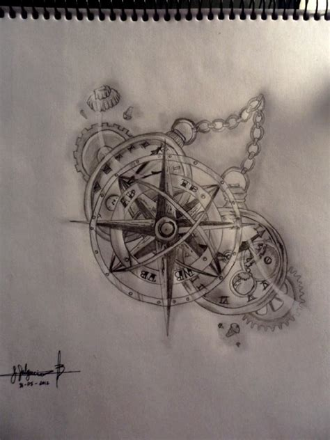broken compass tattooic