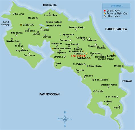 costa rica map with cities costa rica maps and distances in kilometers to cities