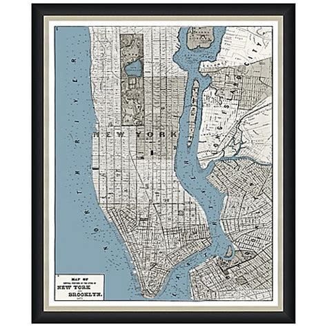 bed bath beyond manhattan framed map of manhattan brooklyn wall d 233 cor bed bath