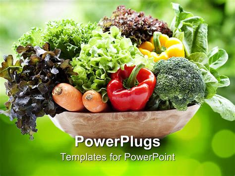 Powerpoint Template Combination Of Vegetables 30612 Vegetarian Presentation Template