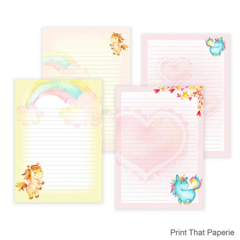 printable unicorn paper unicorn printable writing paper stationary paper letter