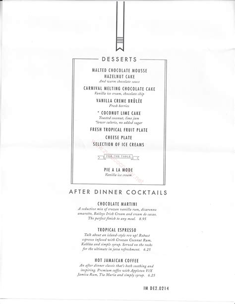 Carnival Imagination American Table MDR Menus   Catalina