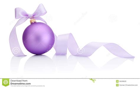 purple christmas bauble with ribbon bow isolated on white