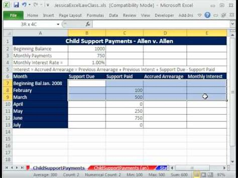 law class excel 2 child support payments template