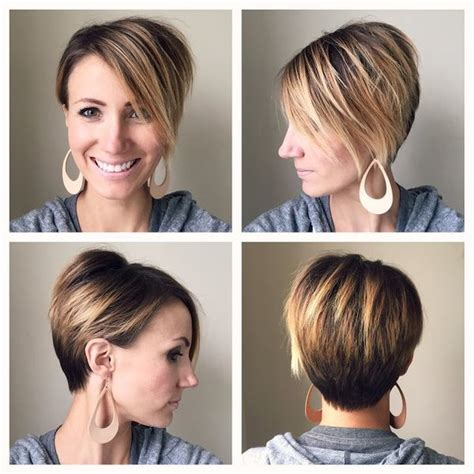 pixie haircut and highlight long pixie 360 degree view asymmetrical ombre lovely