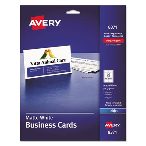 Staples Injet Business Card Template by Product Ave8371 Printable Microperf Business Cards Inkjet