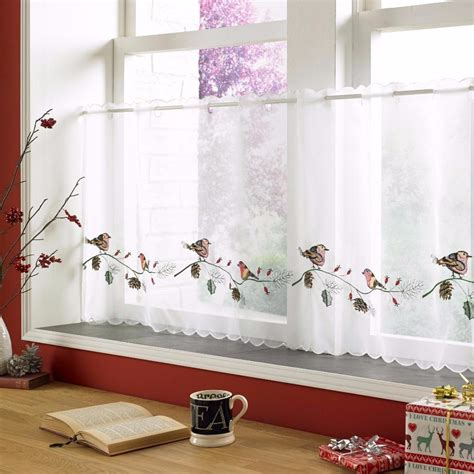 christmas curtain panels christmas voile cafe net curtain panel various designs