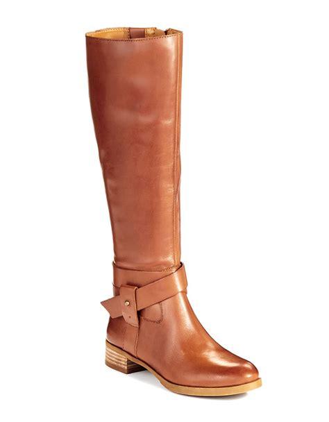 nine west vecelia wide calf boots in brown lyst