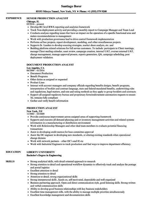 Production Analyst Sle Resume by Production Analyst Resume Sles Velvet