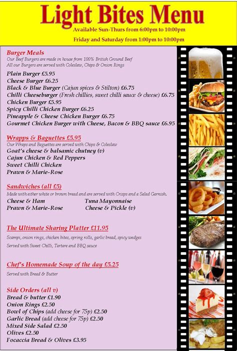 restaurants with light menus food in bournemouth great value homecooked food