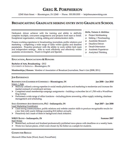 Sle Resume For Graduate School Application Objective graduate school resume sles 28 images exle of resume