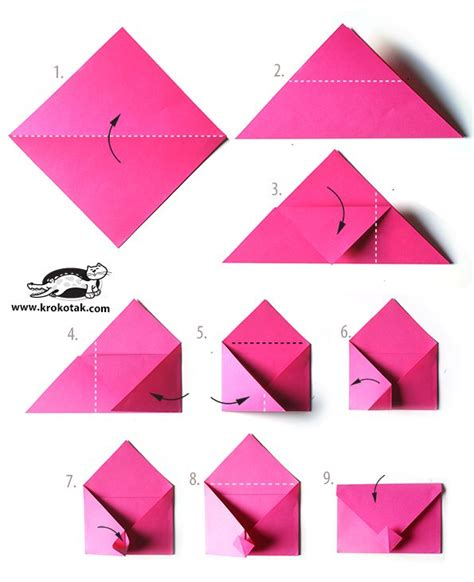 How To Make A Paper C - idea for v day or any envelope origami