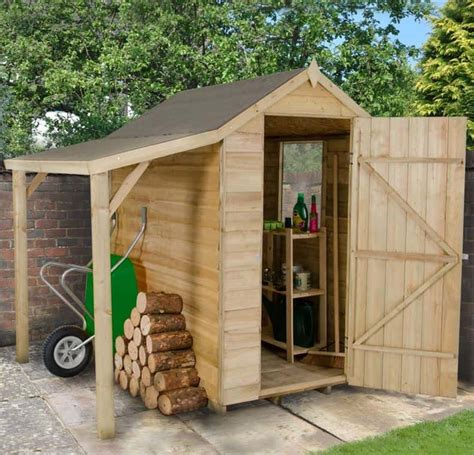 overlap pressure treated wooden shed  lean