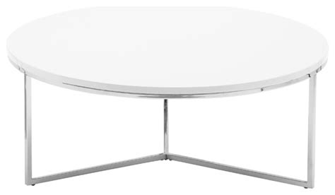 Armani Round Coffee Table, Glossy White   Contemporary