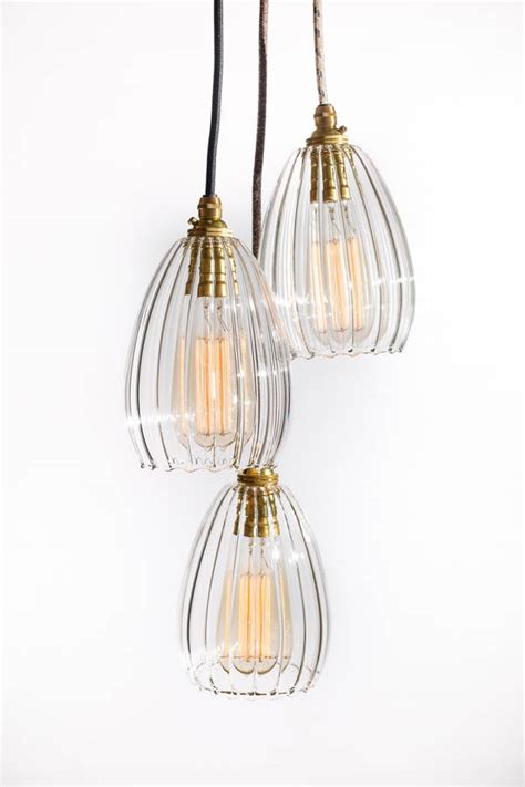 Cluster Pendant Lighting Molly Ribbed Glass Handblown Pendant Cluster Light By Glow Lighting Notonthehighstreet