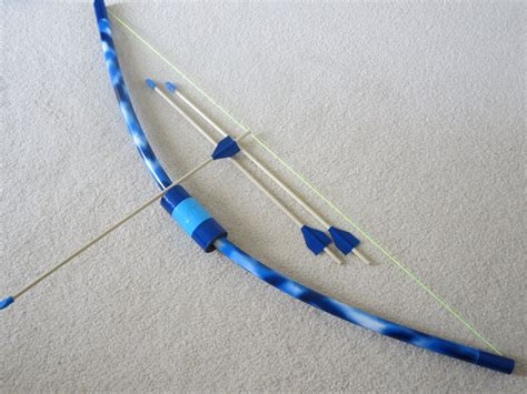 How To Make A Bow Arrow Out Of Paper - blue bow and 3 arrows pvc archery bow and wooden arrows