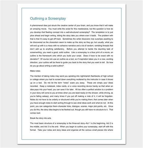 screenplay outline template screenplay outline template 9 worksheets for word pdf